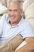 image of grey-haired  - Happy and healthy senior man sitting on a sofa at home smiling and happy - JPG