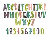 Hand Drawn Latin Font Or Childish English Alphabet Decorated With Daub Or Scribble. Bright Colored L poster