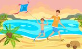 Father And Son Launch A Kite On Beach. Father And Son Are Resting On Beach. Play With Child Outdoors poster