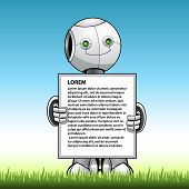 Funny Kid Robot Showing Advert Board. Eps 10 Vector Graphics. Layered And Editable. Instagram - Vect poster