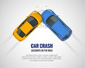 Car Crash, Car Accident Top View Isolated On A Light Background. Car Crash Emergency Disaster. Flat  poster