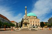 Szechenyi Square In Pecs With Old Mosque In Southern Hungary. poster
