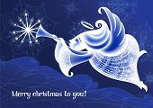 foto of angel-trumpet  - Christmas Angel flies and plays the trumpet - JPG
