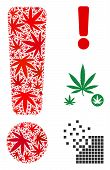 Exclamation Sign Composition Of Hemp Leaves In Various Sizes And Color Variations. Vector Flat Hemp  poster