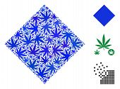 Filled Rhombus Collage Of Weed Leaves In Various Sizes And Color Tones. Vector Flat Weed Symbols Are poster