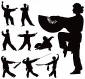 stock photo of tai-chi  - Nine black vector silhouettes of people practicing Tai Chi - JPG