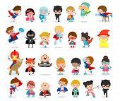 Cartoon Big Set Of Kid Superheroes Wearing Comics Costumes,kids With Superhero Costumes Set, Kids In poster
