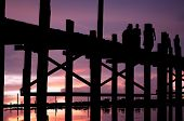 Myanmar, Amarapura, U Bein Bridge; Stunning Sundown From U Bein Bridge