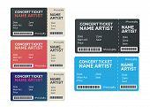 Ticket Concert Invitation. Show Ticket Vector. Music, Dance, Live Concert Tickets Templates poster
