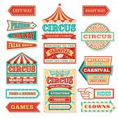 Old Carnival Circus Banners And Carnival Labels Vector Set. Circus Festival, Arrow Banner To Enterta poster
