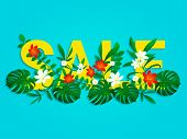 Summer Sale Poster With Beautiful, Bright Tropical Leaves, Flowers. End Of A Season Discount Vector  poster