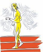 Girl And Jogging. Girl Training On The Jogging Track.sport Girl Looking At The Clock. Illustration O poster