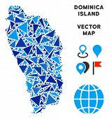 Постер, плакат: Dominica Island Map Collage Of Blue Triangle Items In Different Sizes And Shapes Vector Polygons Ar