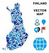 Finland Map Mosaic Of Blue Triangle Items In Different Sizes And Shapes. Vector Triangles Are Combin poster