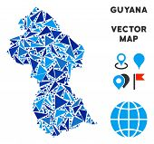 Guyana Map Collage Of Blue Triangle Elements In Various Sizes And Shapes. Vector Triangles Are Combi poster
