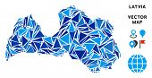 Latvia Map Collage Of Blue Triangle Items In Various Sizes And Shapes. Vector Triangles Are United I poster