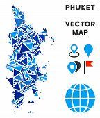 Phuket Map Collage Of Blue Triangle Items In Various Sizes And Shapes. Vector Triangles Are Combined poster