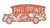 Orange Jeepney With Philippine Ornament. Palm Tree, Whale Shark, Mask, Turtle, Halo-halo. Vector Col poster