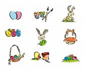 stock photo of easter bunnies  - Illustration of Easter Icons with Clipping Path - JPG