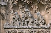 picture of magi  - Figures of the Magi on the Nativity of Christ facade of Sagrada Familia cathedral in Barcelona - JPG