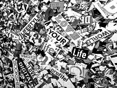 Random words and letters love your life solarized monochrome scratched  poster