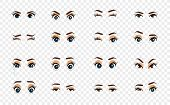 Cartoon Female Eyes. Illustration. Colored Vector Closeup Eyes. Female Woman Eyes And Brows Image Co poster