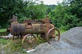 Old And Rustic Steam Train Or Tractor Used In Serbia In 1920s And 1930s. Made In Germany. Old Fashio poster