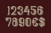 Awesome Vector Numbers With Dollar And Euro Symbols In Machine Retro Style. poster
