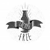 Lactose Free Logo Or Icon. Vector Illustration. poster