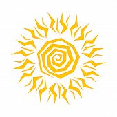 The Sun Shines Brightly, The Rays Of The Sun, The Yellow Sun In A Flat Style, Sunny Day, Weather For poster
