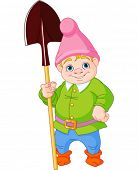 stock photo of gnome  - Illustration of cute Garden Gnome with shovel - JPG