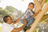 Happy Mixed Race Father Helping Son Climb a Tree in the Park.