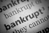 picture of glossary  - the word bankrupt in an English glossary super macro - JPG
