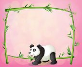 Illustration of a panda and the empty bamboo frame