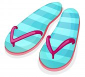 Illustration of a blue stripe sandal on a white background
