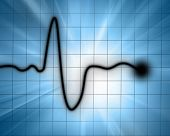 picture of blue-screen-of-death  - Heart beat on monitor on a blue background - JPG
