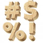 Three-dimensional wooden alphabet. Vector illustration of 3d realistic font characters of wood. Glyp