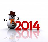 3D illustration - 2014 with snowman