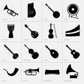 stock photo of double-bass  - Set of musical instruments icons  - JPG