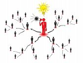 image of human pyramid  - Network marketing is based on the transfer of ideas and information - JPG