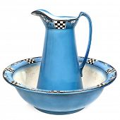 stock photo of wash-basin  - Antique wash basin and water jug - JPG