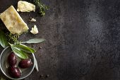 picture of bay leaf  - Food background with parmesan cheese - JPG