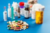 stock photo of antibiotics  - Samples of medicines - JPG
