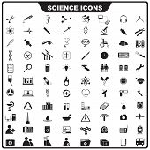stock photo of neutrons  - vector illustration of complete set of science icon - JPG