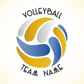 pic of volleyball  - Vector volleyball team sign on white background - JPG