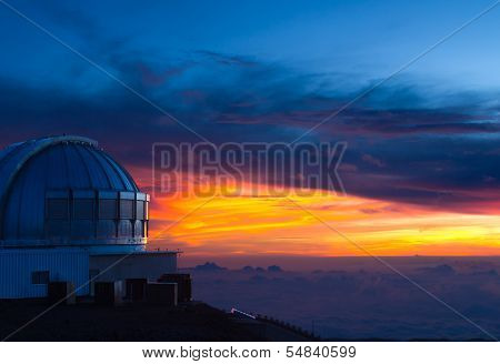 Observatory In Hawaii At Sunset