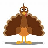 stock photo of cartoon character  - Cute cartoon Thanksgiving turkey - JPG