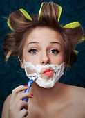image of crazy face  - Girl shaving face  - JPG