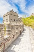 stock photo of qin dynasty  - View of the Great Wall of China  - JPG