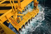 stock photo of drilling platform  - Oil and gas platform in the gulf or the sea - JPG